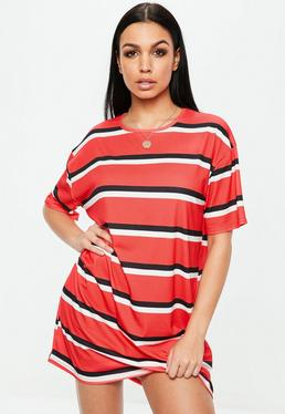 Czerwona sukienka T-shirt w paski