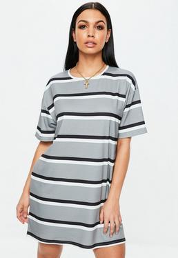 Szara sukienka T-shirt w paski