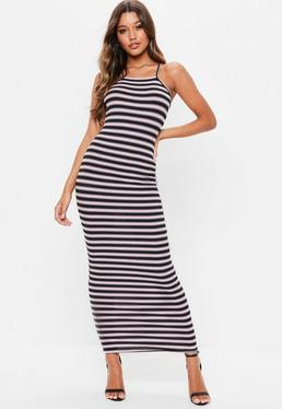 Pink Stripe Ribbed Midaxi Dress