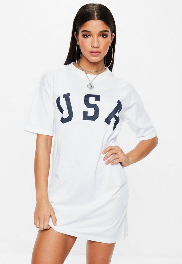 White Short Sleeve Usa T Shirt Dress Missguided