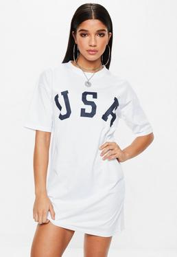 White Short Sleeve USA T-shirt Dress