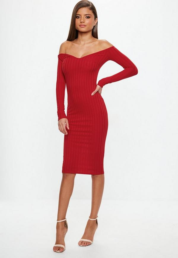 Rotes Bandeau-Kleid in Midi-Länge | Missguided