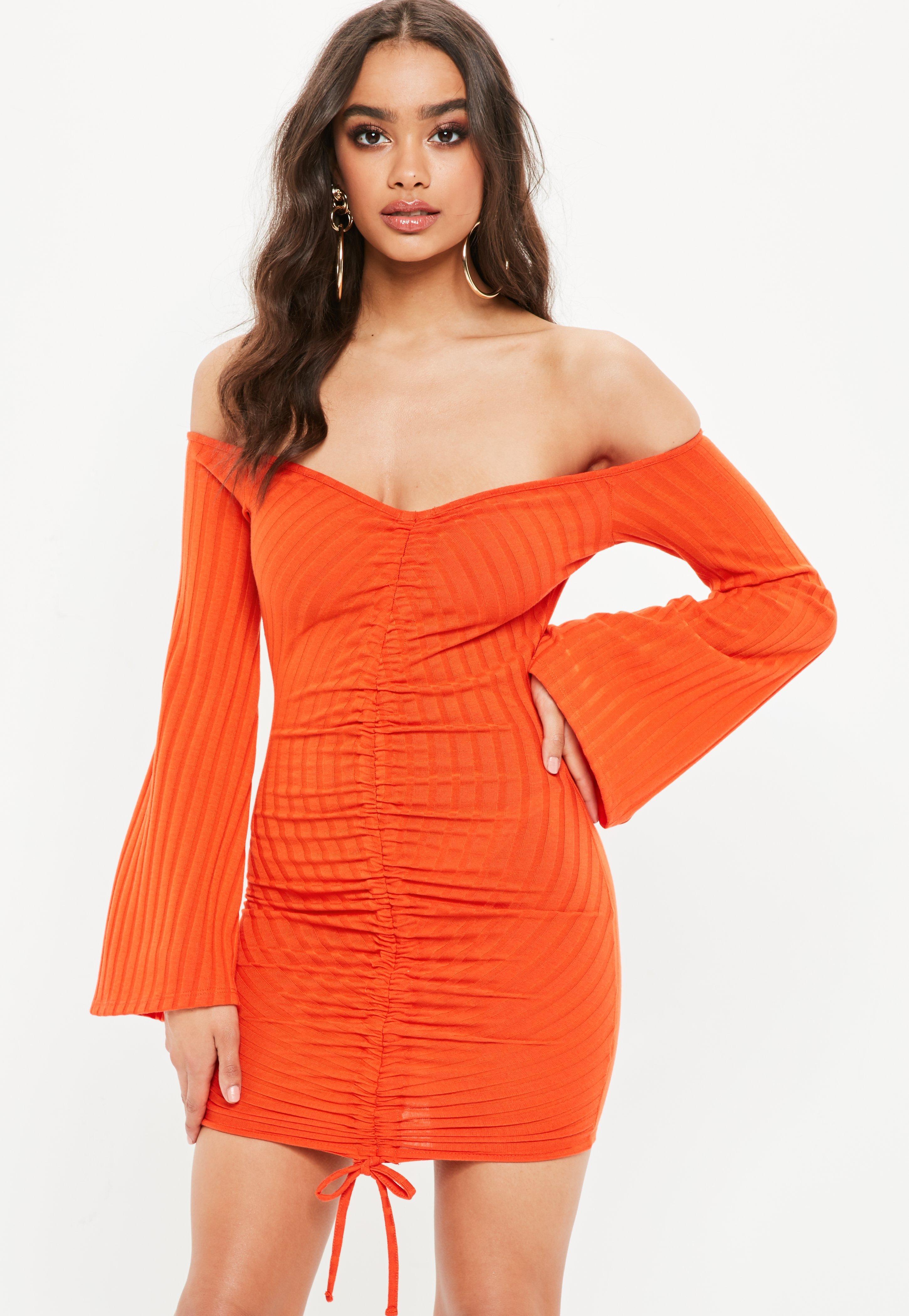 orange above knee dress australia