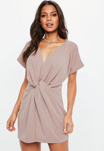 f2595bca3b mauve knot front shift dress