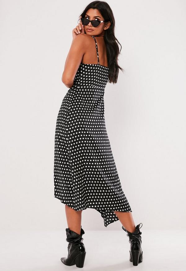 Black Polka Dot Strappy Side Split Midi Dress Missguided