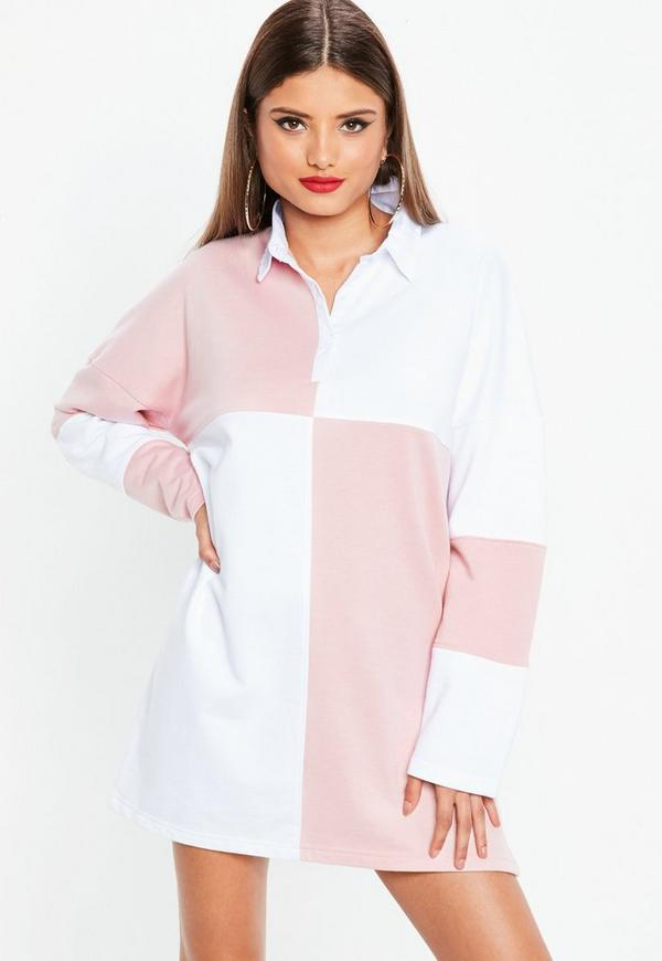 White Rugby Colourblock Shirt Dress by Missguided