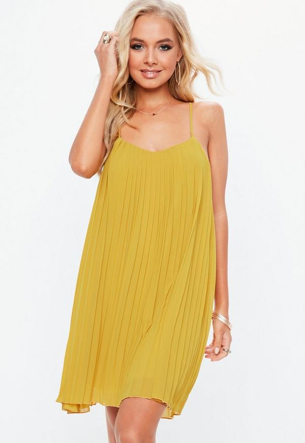 a4a3371c9c73 Mustard Strappy pleated Swing Dress