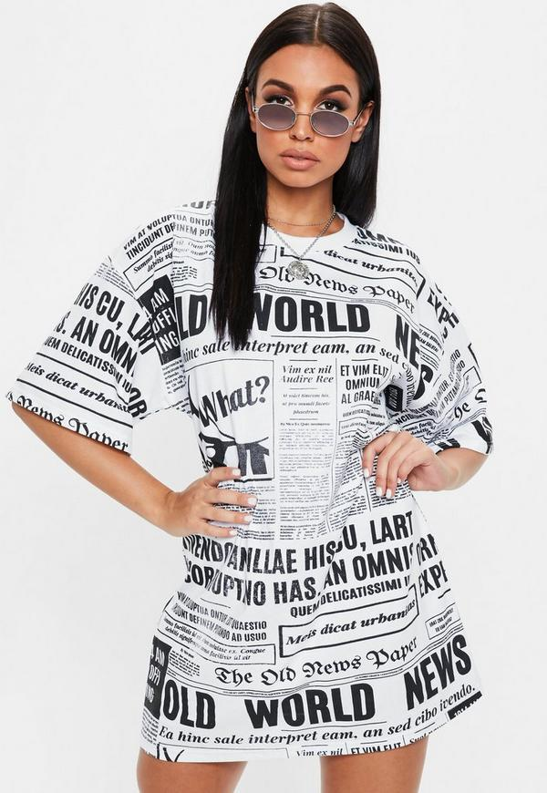 White Newspaper Oversized Tshirt Dress by Missguided