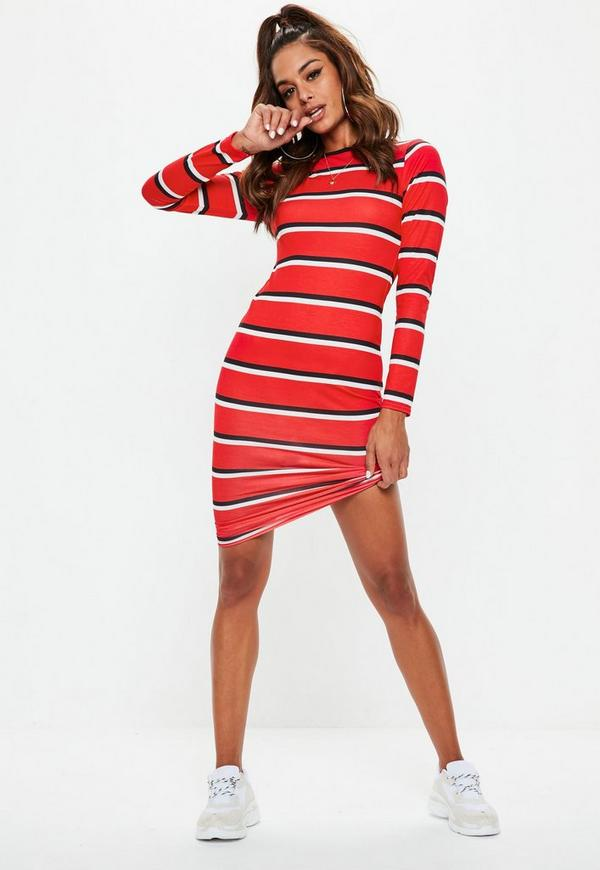 Tesco younkers dress bodycon sleeved uk striped long