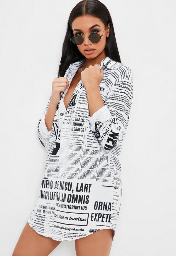 White Newspaper Print Long Sleeve Shirt Dress by Missguided