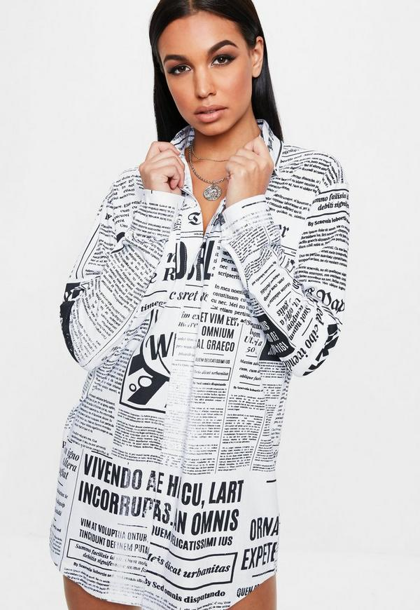 White Newspaper Print Long Sleeve Shirt Dress Missguided