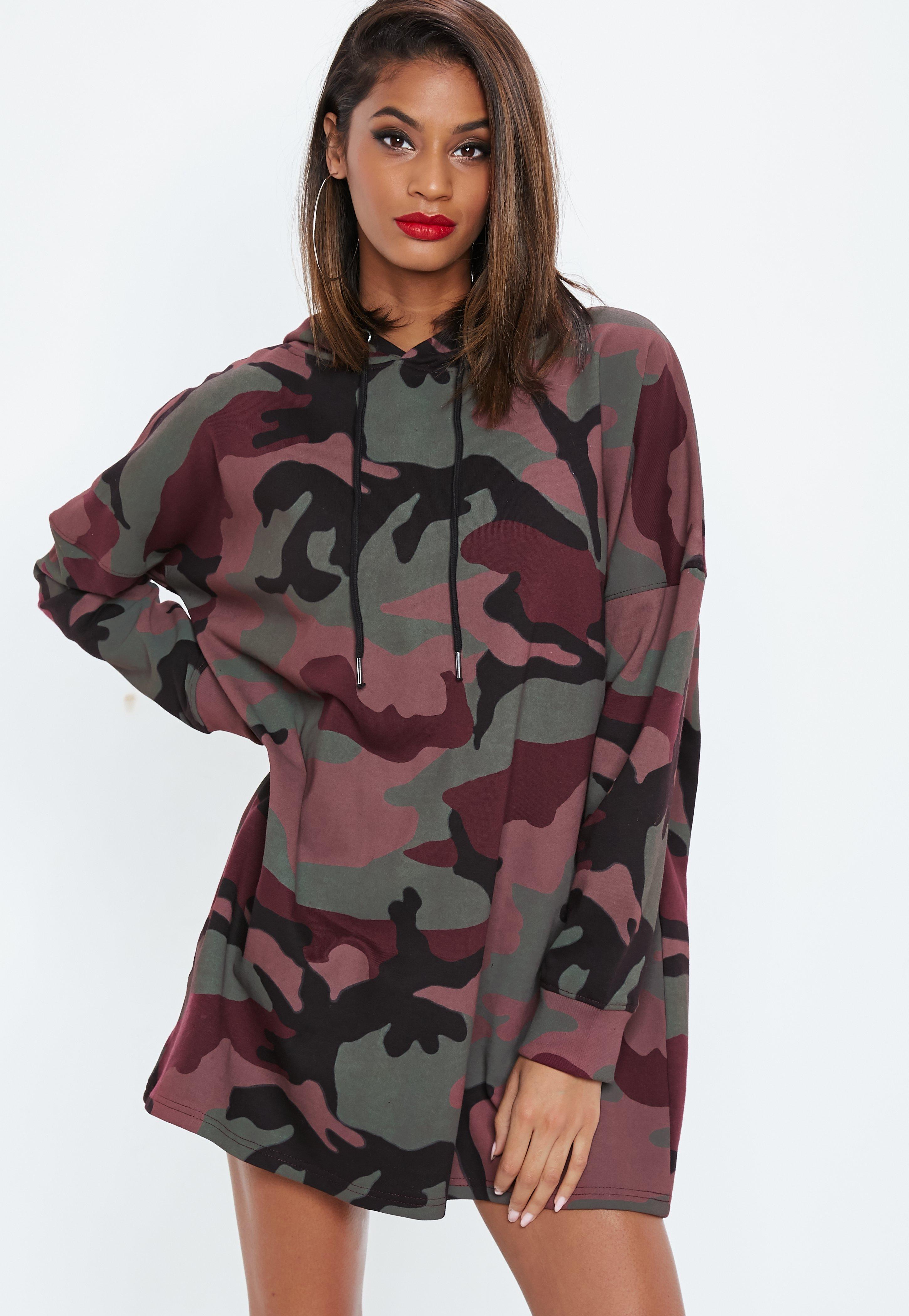 Burgundy Camo Hooded Sweater Dress