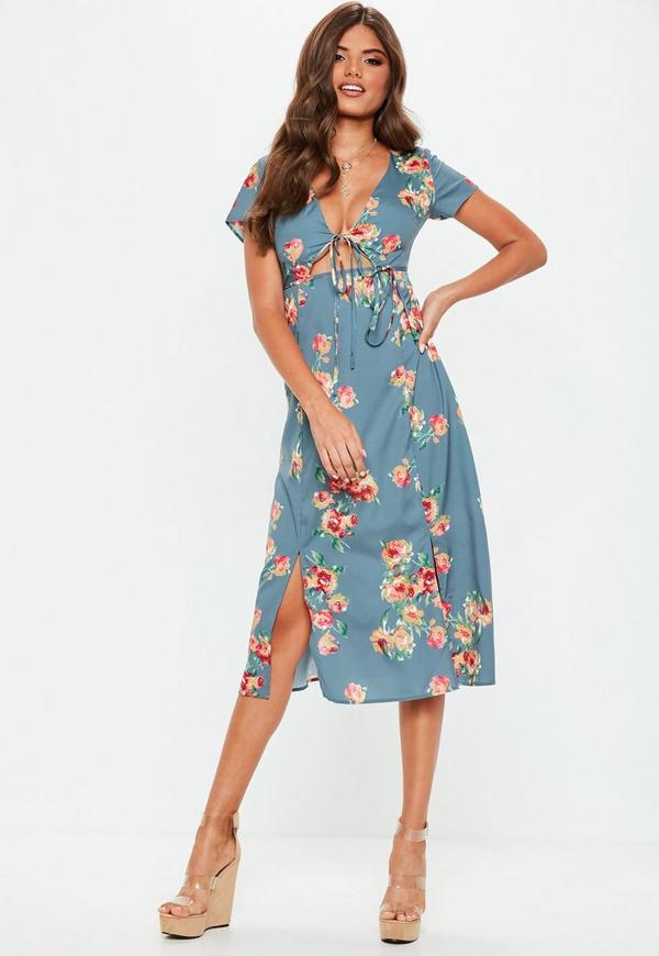 Midi-Kleid mit floralem Muster in Blau | Missguided