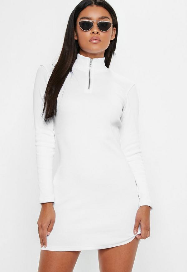 White Zip Front Bodycon Mini Dress by Missguided