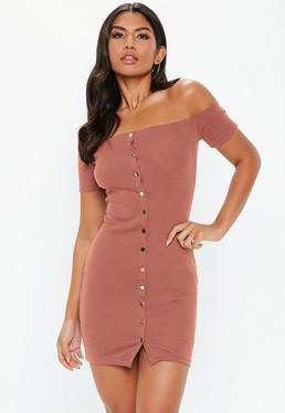 677a04fd8f60 Rust Bardot Ribbed Popper Front Mini Dress