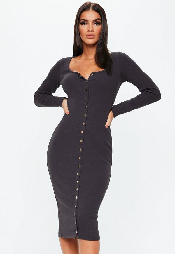 c56f28312910 Chocolate Long Sleeve Ribbed Popper Midi Dress