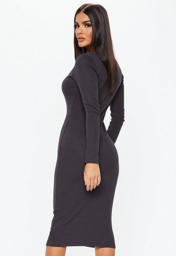 eb8d79a818a4 Chocolate Long Sleeve Ribbed Popper Midi Dress. Previous Next