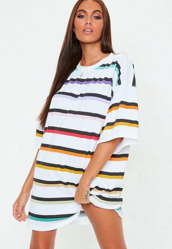 White Oversized Rainbow Stripe T Shirt Dress by Missguided
