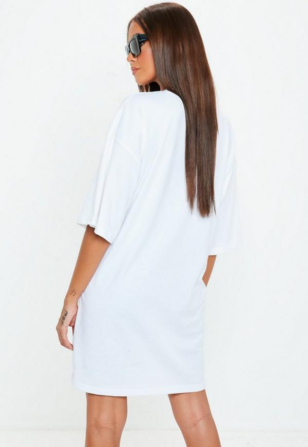 White Oversized California Graphic T Shirt Dress by Missguided
