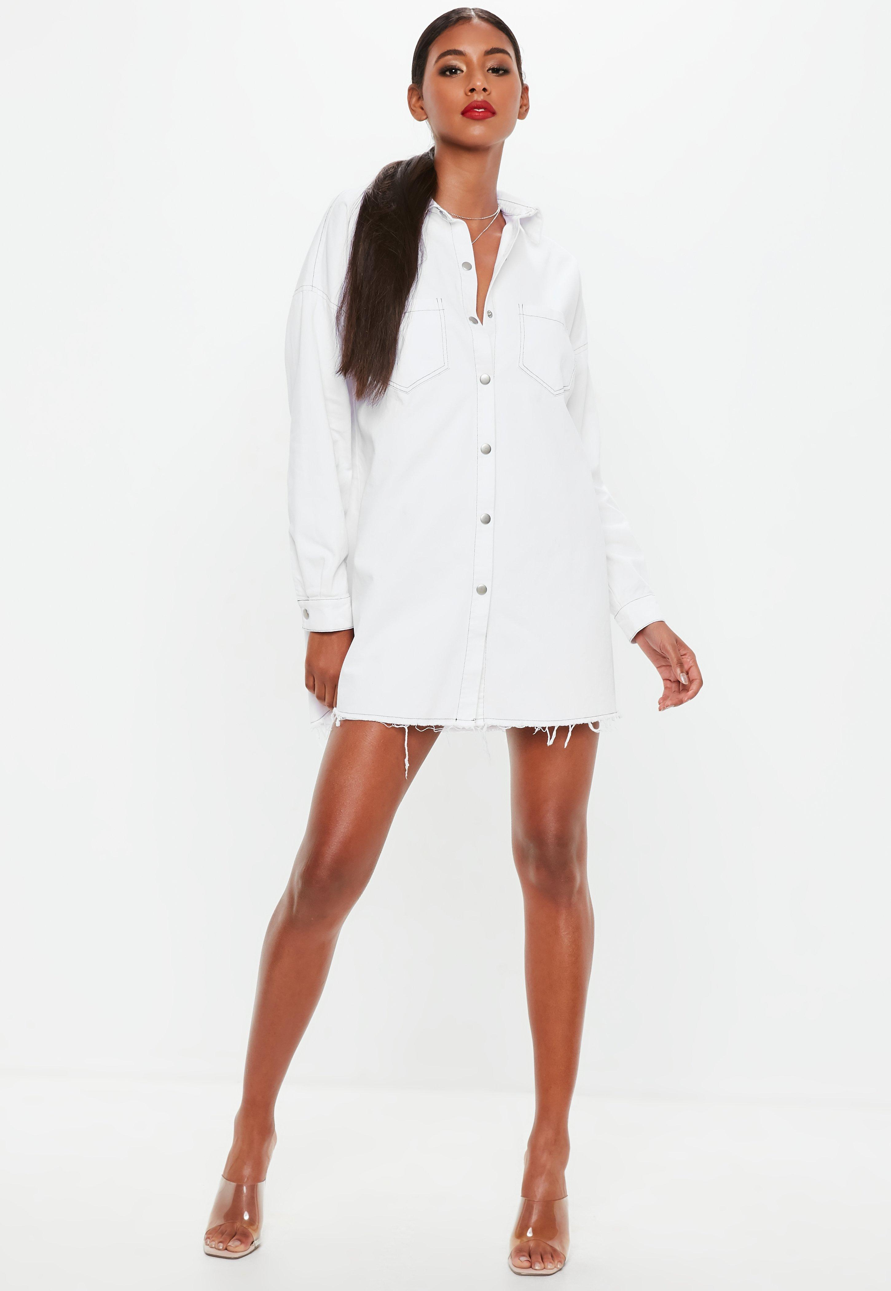 White Oversized Contrast Stitch Utility Shirt Dress