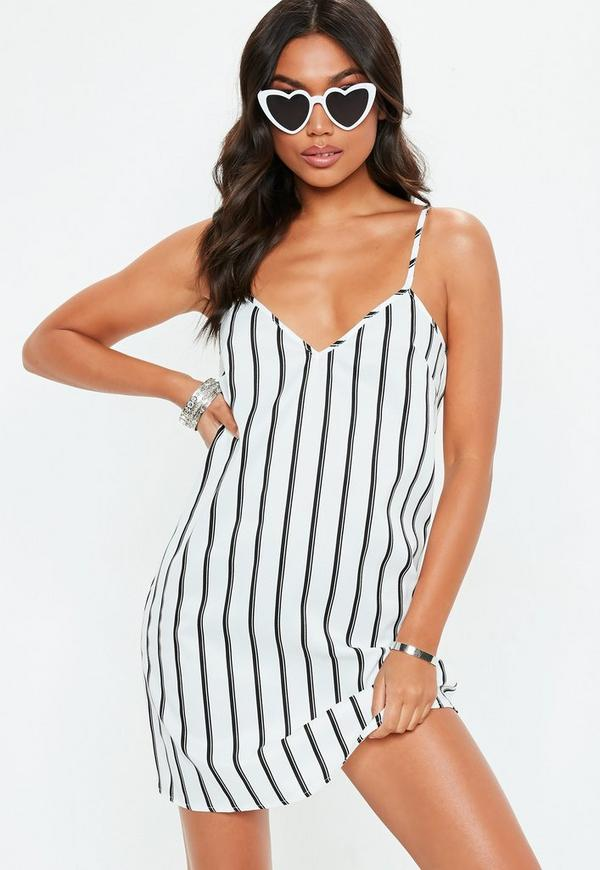White Stripe Strappy Cami Shift Dress by Missguided