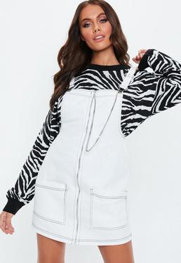 White Denim Contrast Stitch Pinafore Dress