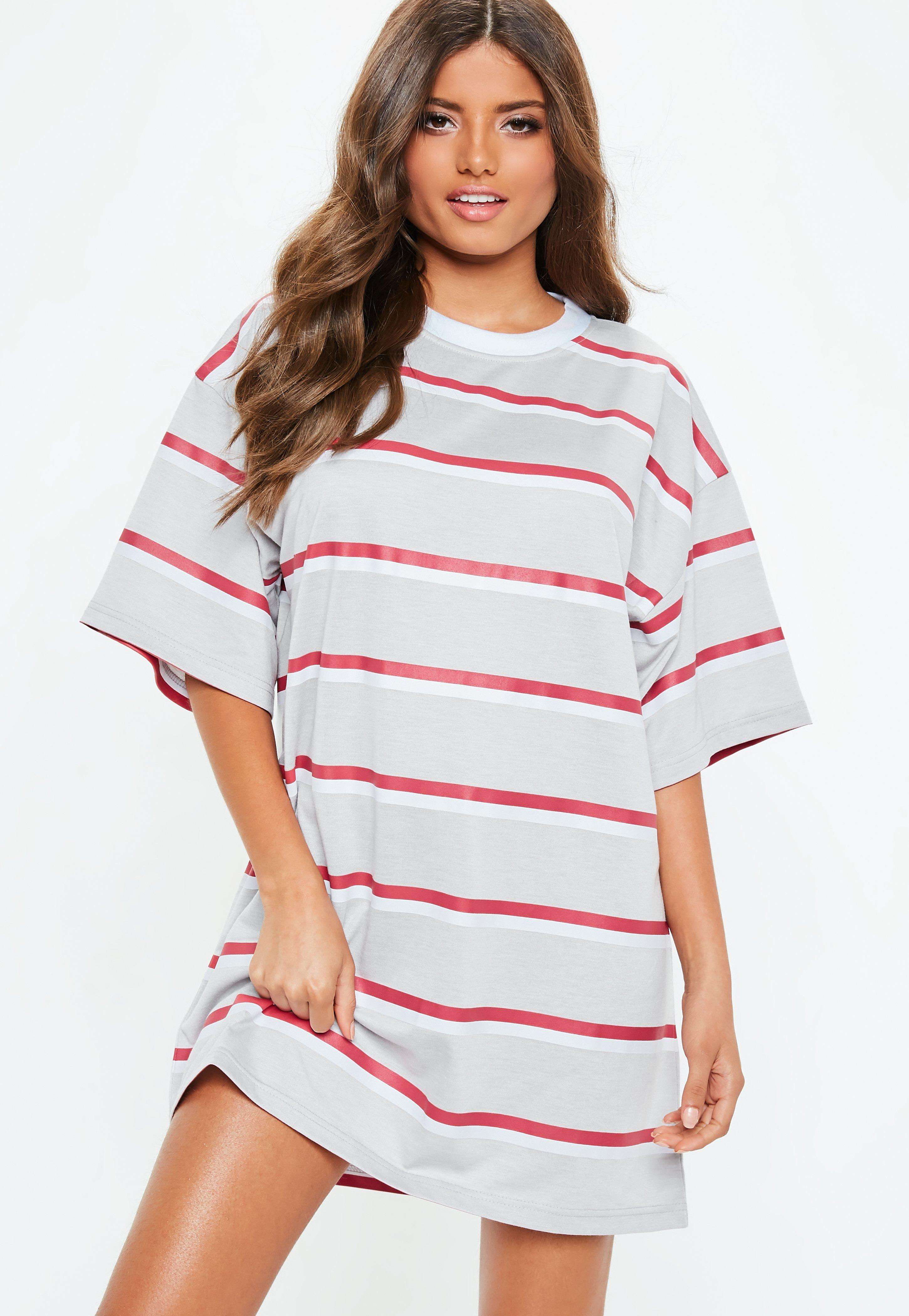 Grey Striped Oversized T Shirt Dress Missguided