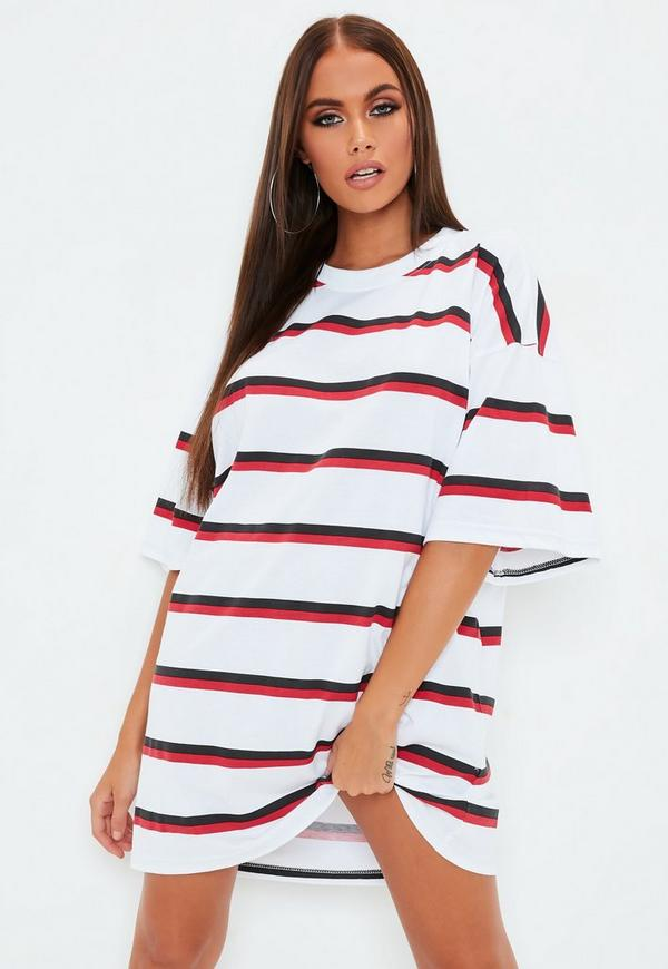 White Oversized Double Stripe T Shirt Dress by Missguided