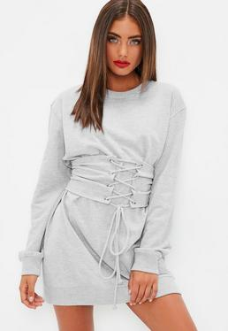 Grey Sweater Dress with Belt