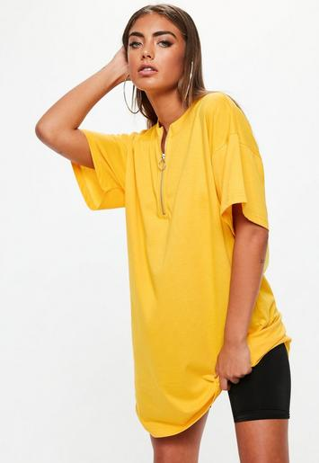 Yellow Oversized Zip Up Front T Shirt Dress Missguided