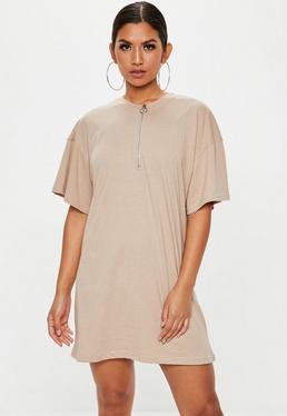 Stone Zip Front TShirt Dress