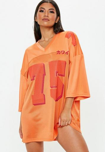 Orange Oversized Football Jersey Dress Missguided