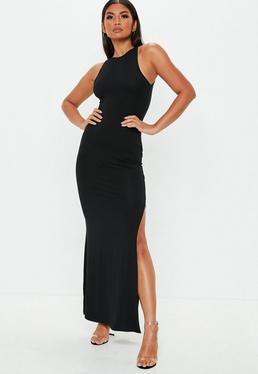 Black 90s Neck Maxi Dress
