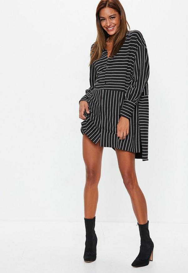 d91c74da1fce Black Extreme Oversized Stripe Jersey Shirt Dress