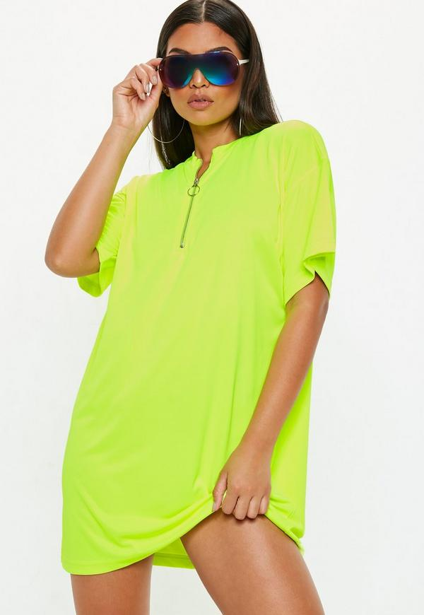 Neon Yellow Oversized Zip Front T Shirt Dress Missguided