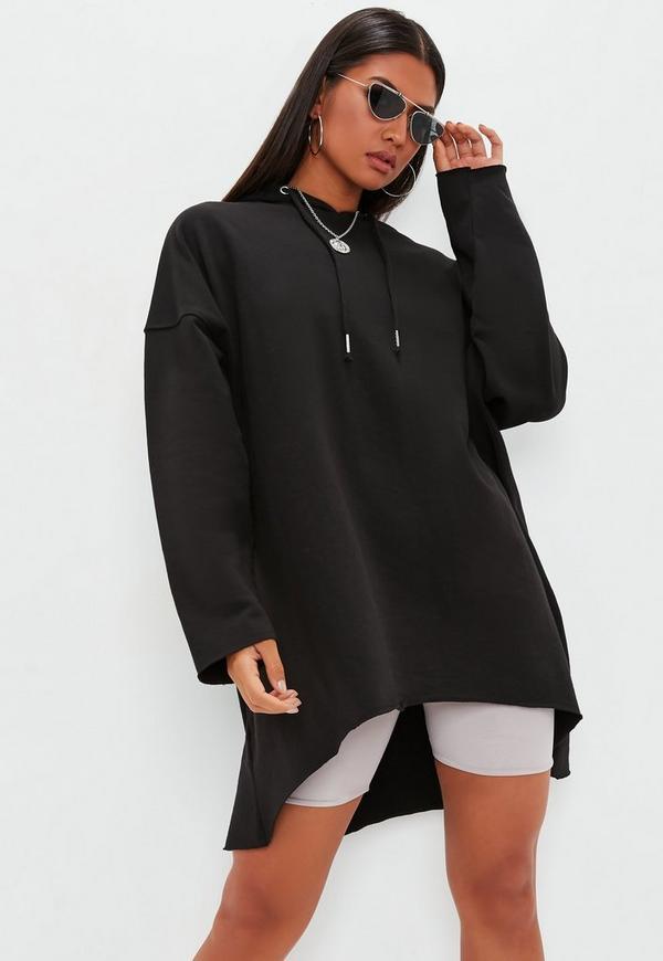 a70546b0ef46 ... Black Raw Hem Hooded Sweatshirt Dress. Previous Next