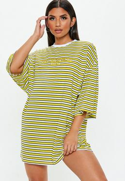 Yellow Oversized Stripe You Know It Girl TShirt Dress