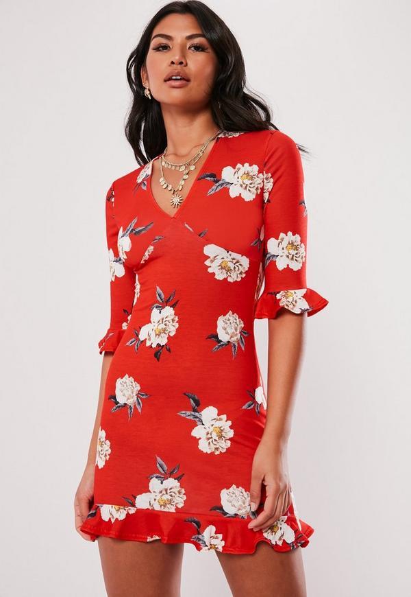 5b45c5c23c474 ... Red Frill Detail Floral Tea Dress. Previous Next