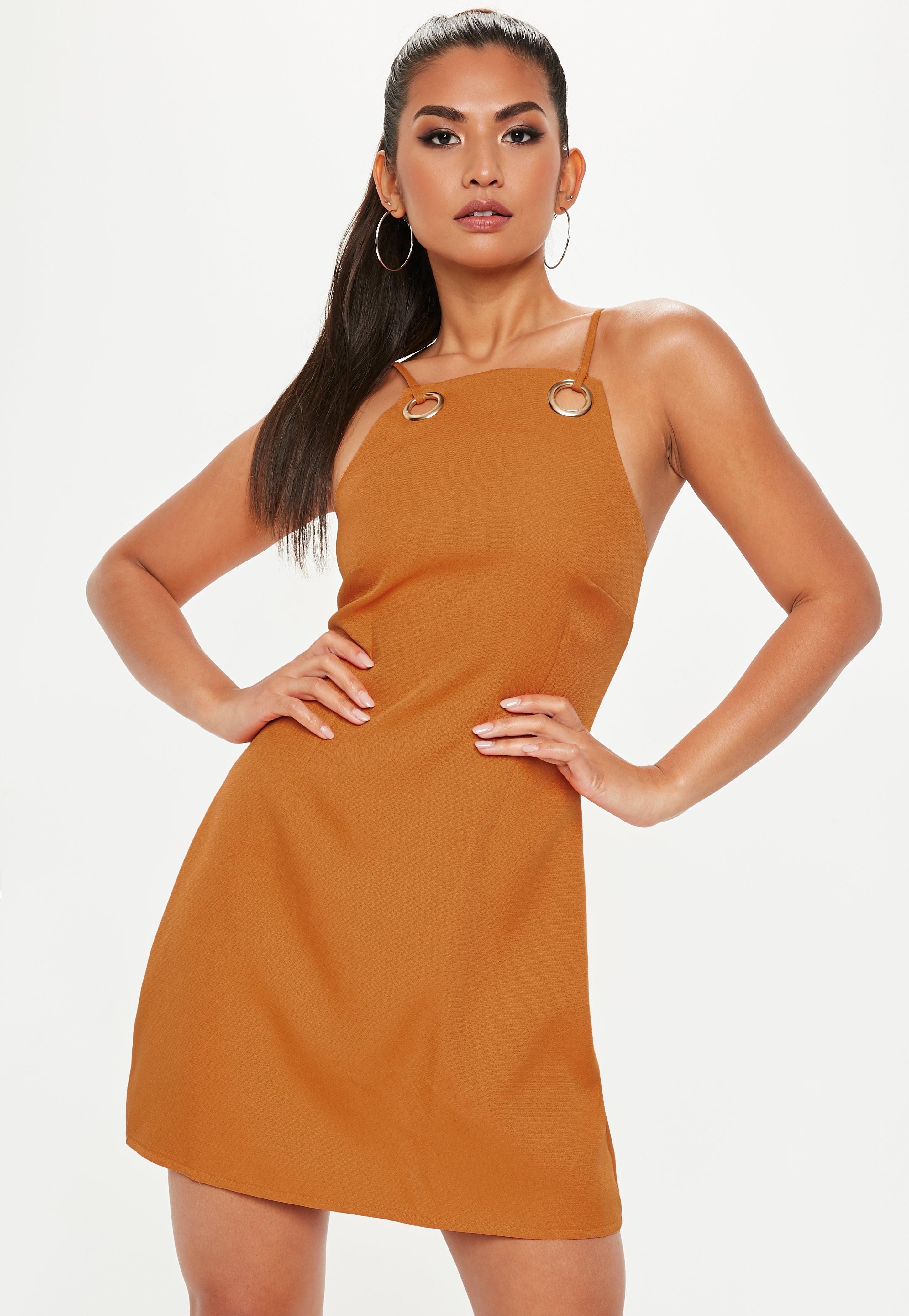 orange strappy eyelet a line dress missguided