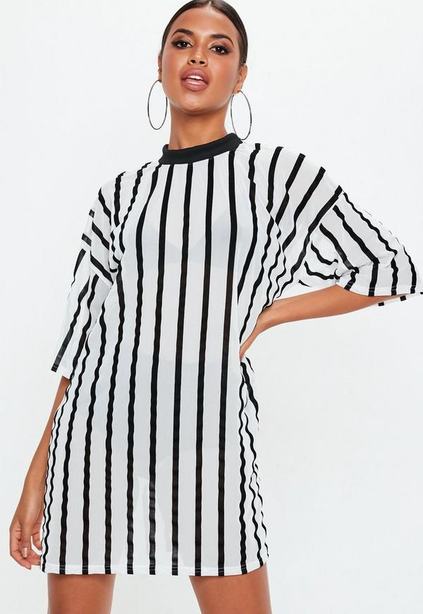 871e9ec7f24 White Stripe Mesh Oversized T Shirt Dress. €21.00. Previous Next