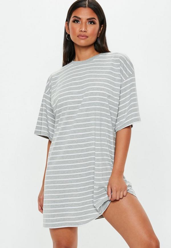 c6bec125c76d Grey Stripe Oversized Drop Sleeve T Shirt Dress