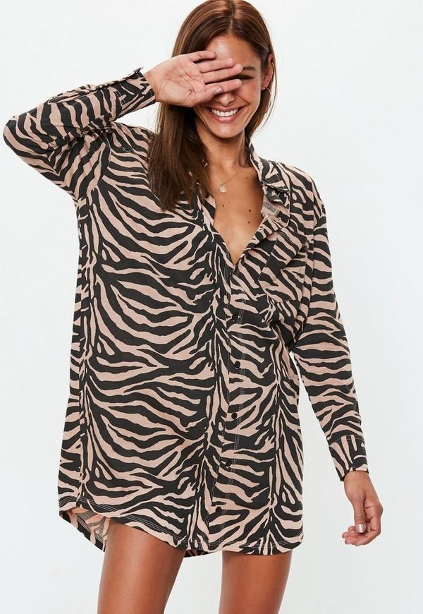 e6481b0444 Rust Oversized Zebra Print Shirt Dress