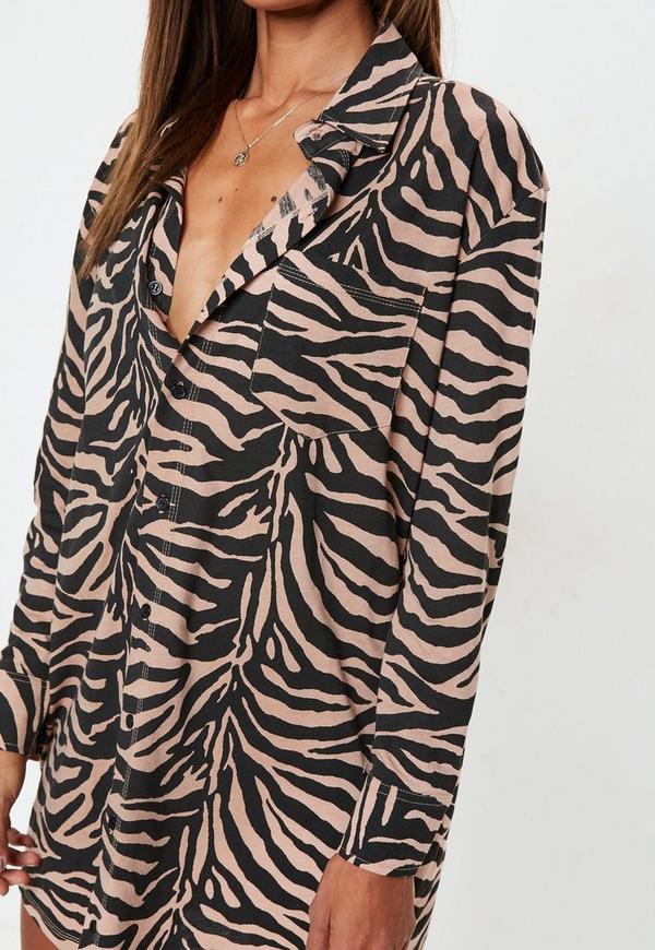1a15037197 Rust Oversized Zebra Print Shirt Dress. Previous Next