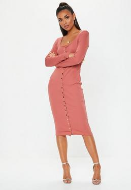 Rust Ribbed Popper Long Sleeve Dress