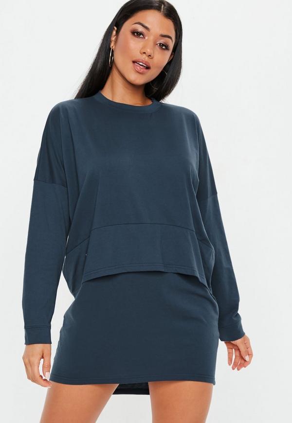 e5531af6e63da Navy Oversized Jersey Overlay T Shirt Dress | Missguided Australia