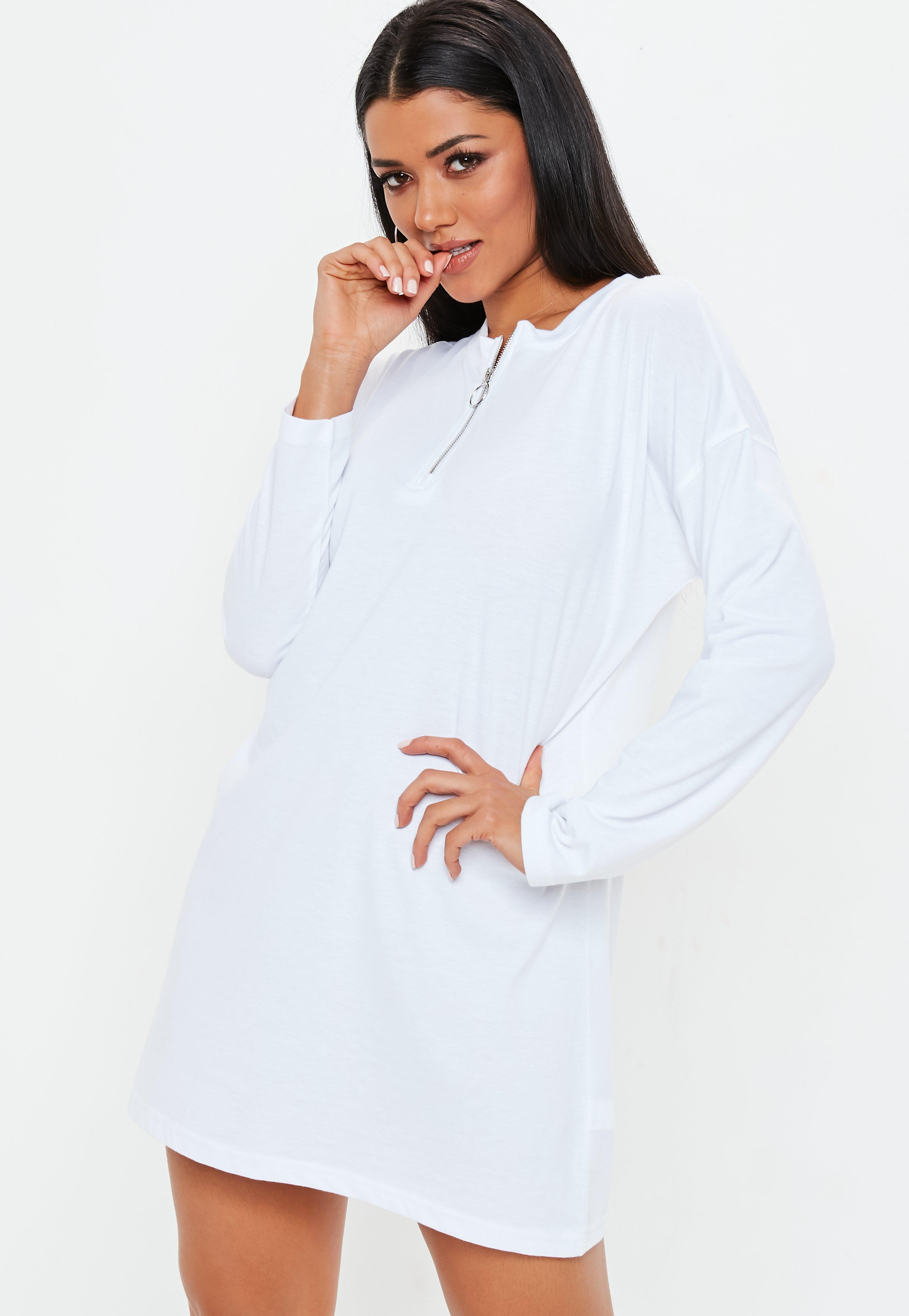 6ee8636ab2d3 White Oversized Zip Front Long Sleeve T-Shirt Dress