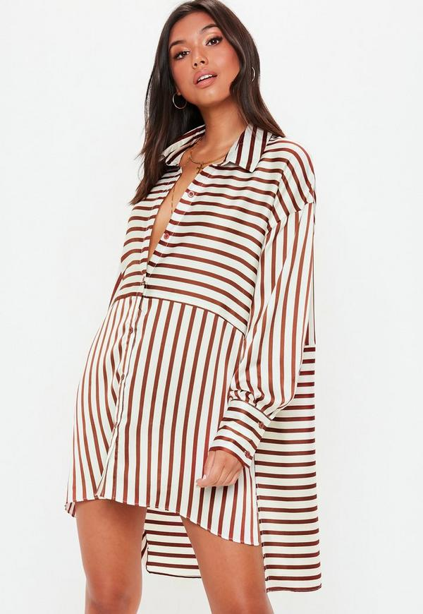 b7ae1fa61c ... White Striped Oversized Satin Shirt Dress. Previous Next