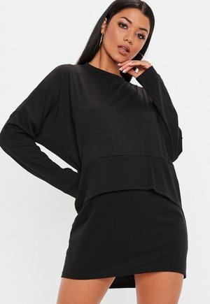 95e4ed76a6d5d £4.00. black oversized jersey overlay t shirt ...