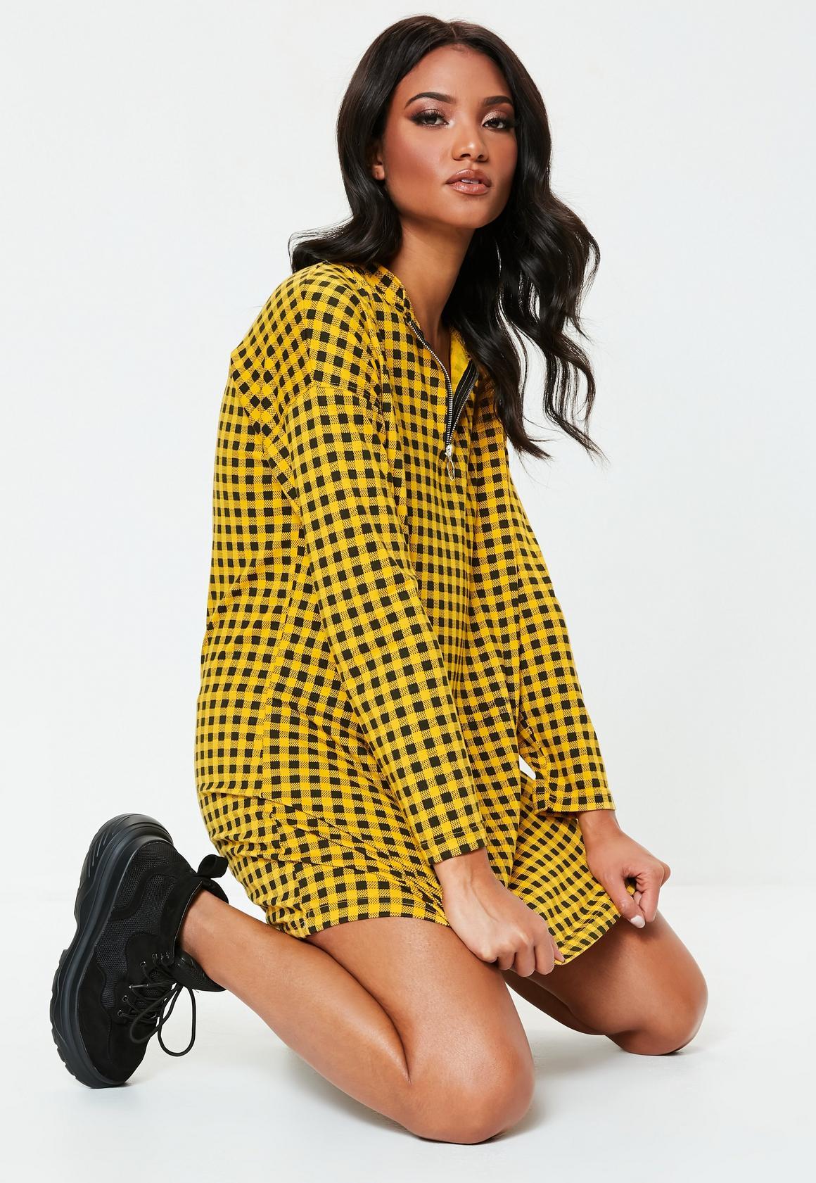 Missguided - robe-sweat  à damier détail zip - 1