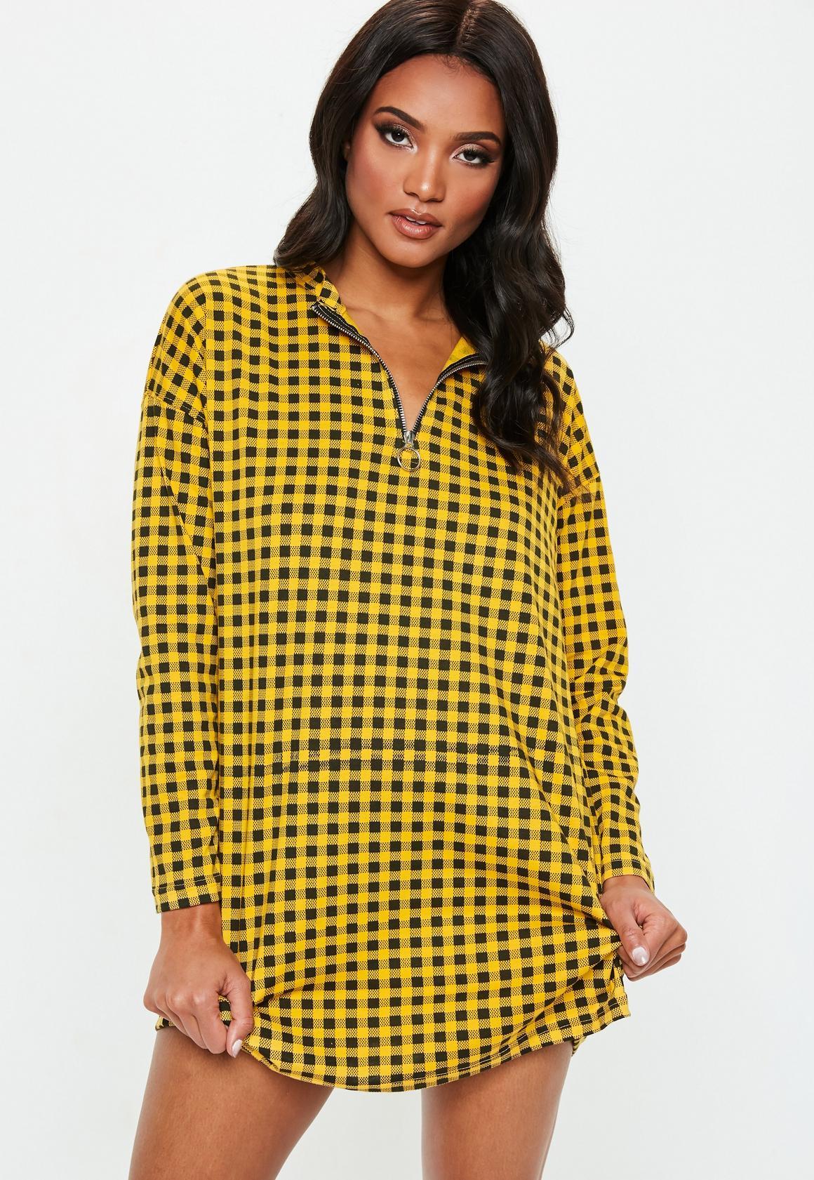 Missguided - robe-sweat  à damier détail zip - 2